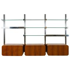 "Burl and Chrome ""Orba"" Wall Unit by Janet Schwietzer for Pace Collection"