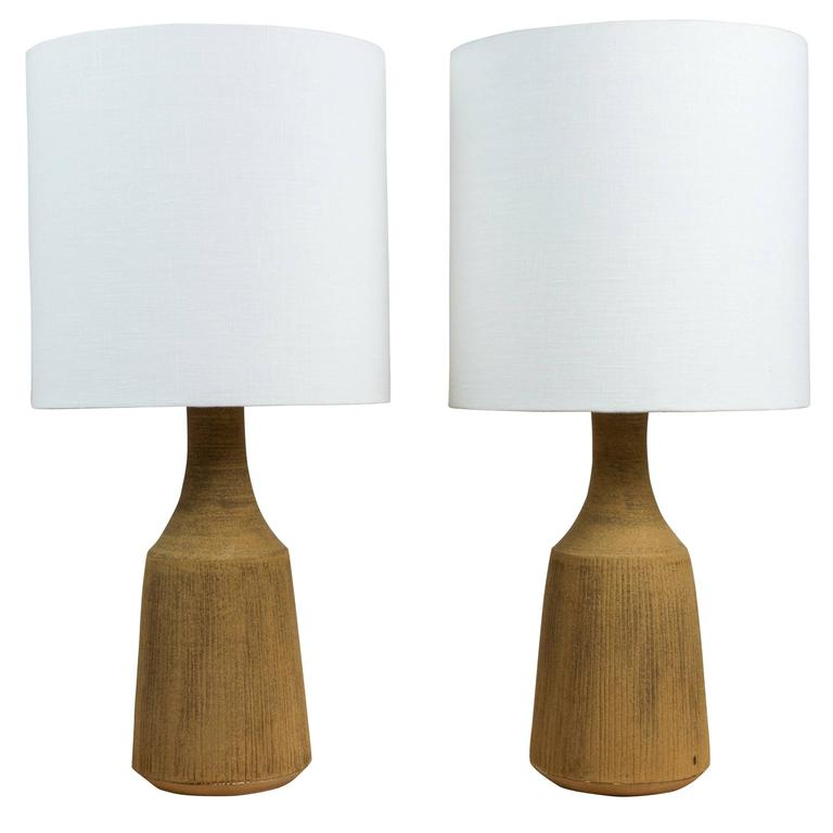 Pair of Sandstone Pinstripe Ceramic Lamp by Victoria Morris