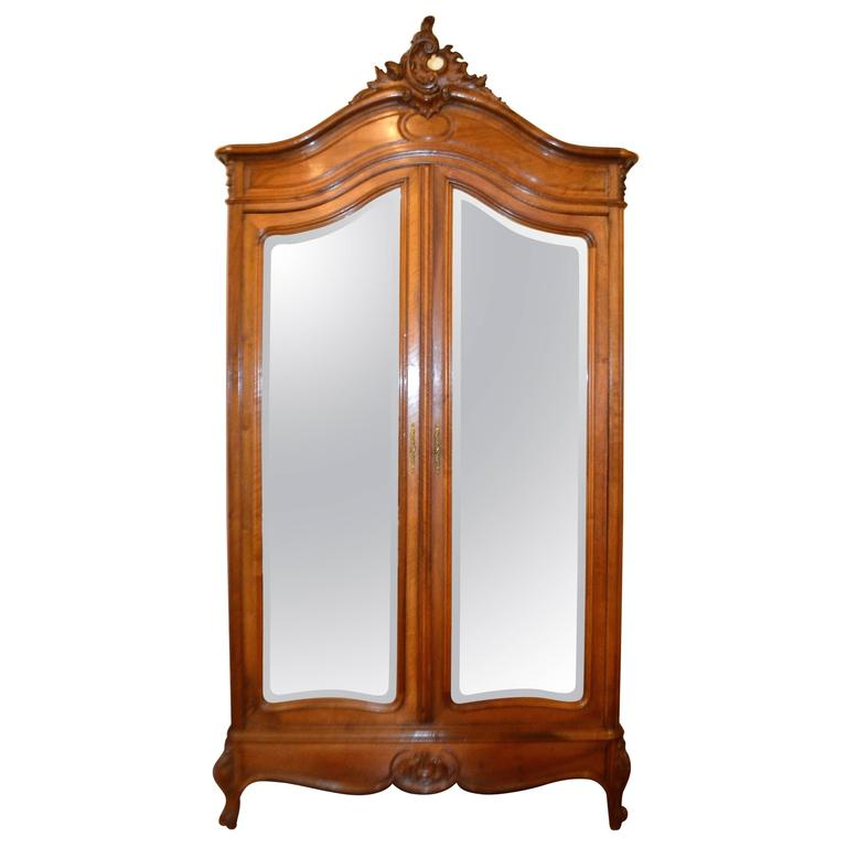 louis xv style walnut armoire with double mirrored doors at 1stdibs. Black Bedroom Furniture Sets. Home Design Ideas