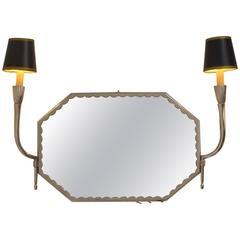 Art Deco Nickel Silver Vanity Mirror with Sconces Ruhlmanesque