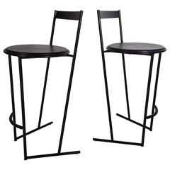 Postmodern Pair of Italian High Tech Bar Stools