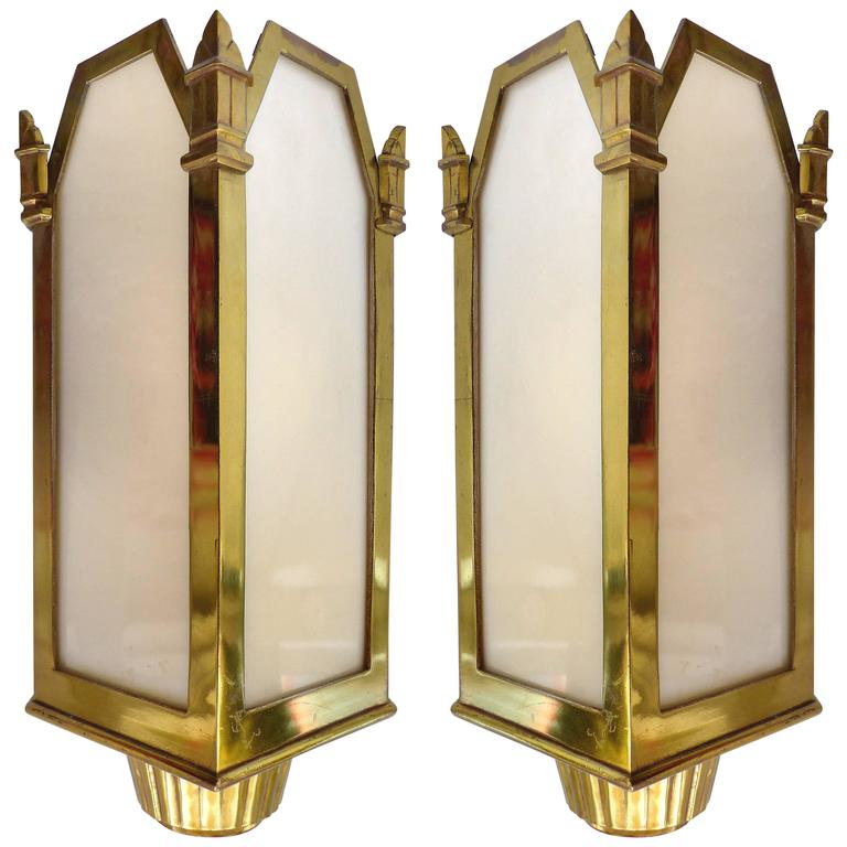 1930s, American Art Deco Bronze and Glass Theater Sconces