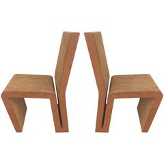 1970s Frank Gehry Easy Edges Corrugated Cardboard Chairs, Pair