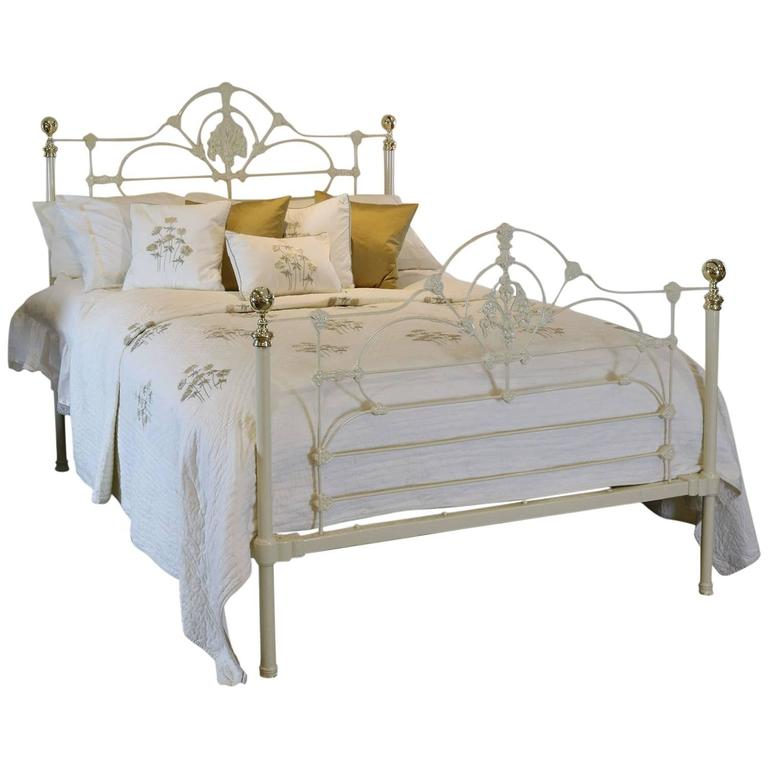 cast iron and brass bed in cream mk95 at 1stdibs
