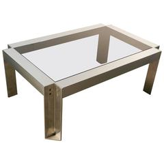 Georges Frydman, Coffee Table in Brushed Steel, Edition E.F.A