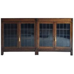 Pair of Antique Vintage Mid-Century Oak Bookcases Display Cabinets