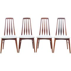 Mid-Century Modern Danish Set of Four Chairs Model Eva by Niels Kofoed