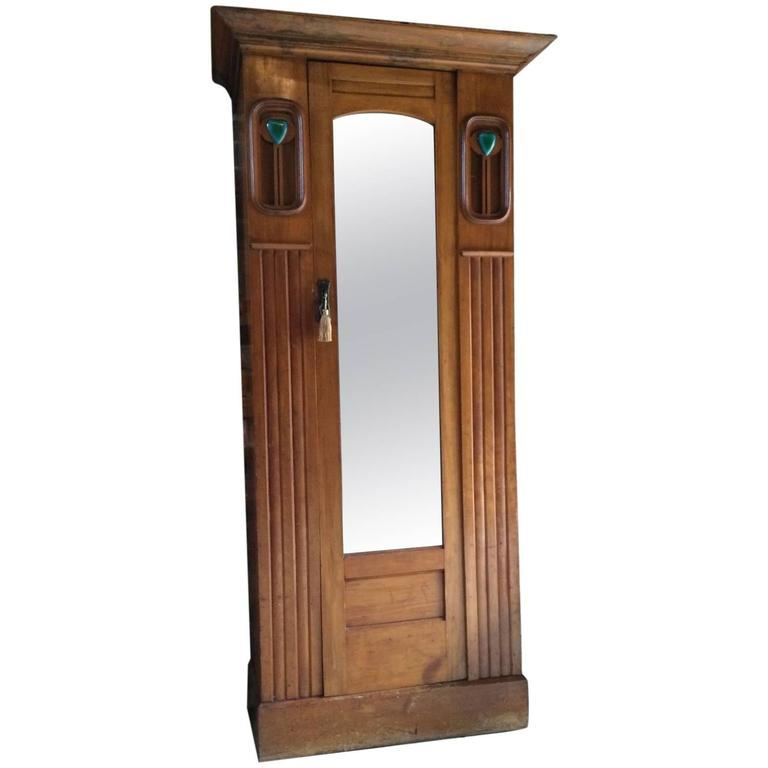 Antique arts and crafts single wardrobe walnut armoire - Armoire dressing miroir ...