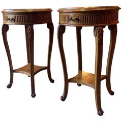 Antique Style French Bedside Tables Pair of Louis XV Side Mahogany Marble