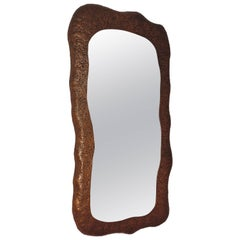 A. Bragalini Hammered Copper Wall Mirror