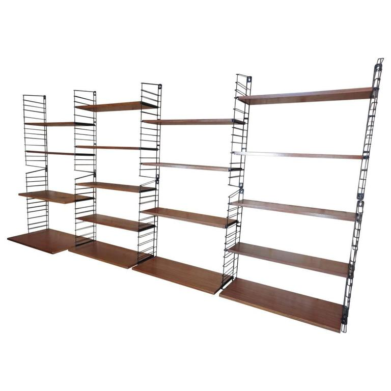 Mid-Century Modern, 1960 Extra Large Teak / Metal Tomado Shelving or Wall Unit