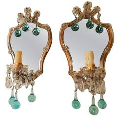 French Aqua Blue Murano Drops Mirrors Sconces, circa 1920