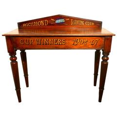 19th Century Richmond Rowing Club Trophy Table, Mahogany Hall Table