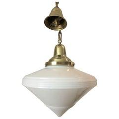 Art Deco White Milk Glass Diamond Light Fixture or Pendant Brass Canopy & Chain