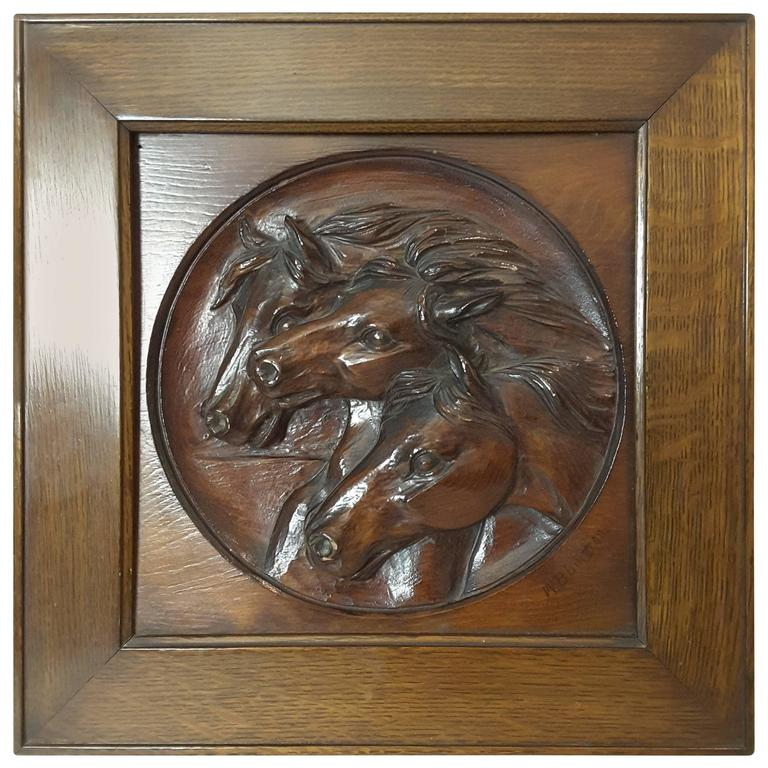 Nice Three Horse Carved Pine Panel Mounted in Oak Frame Signed W.B.Lintton For Sale