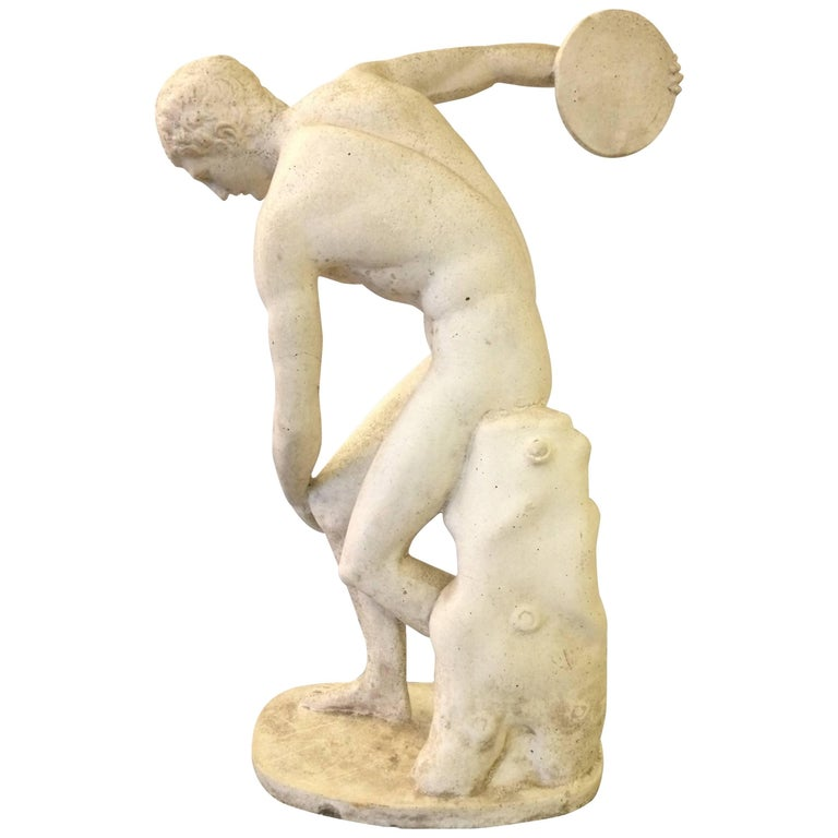 Classical Sculpture of Greek Discus Thrower For Sale