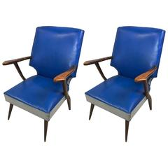 Pair of Mid-Century High-Back Lounge Chairs by Ercol