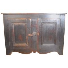 Dark Blue Painted Canadian Buffet with Scalloped Base
