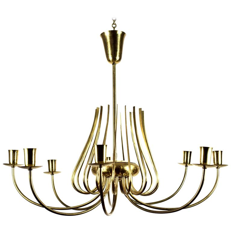 Large Italian 1950s Luxury Brass Chandelier with Eight Arms