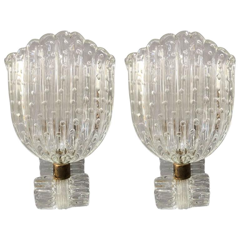 Chic Pair of Murano Glass Sconces Attributed to Barovier