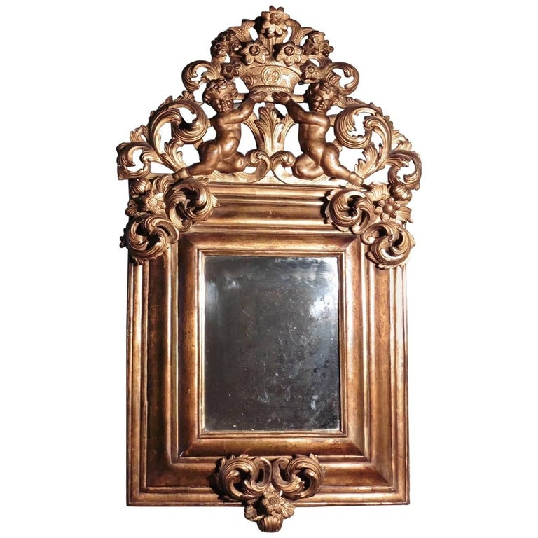 Large 18th Century Carved English Giltwood Mirror For Sale