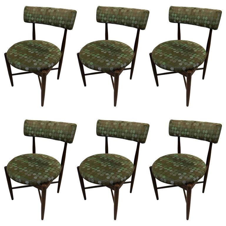 Set of six mid century danish g plan dining chairs for G plan dining room chairs