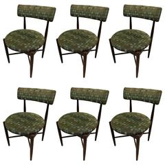 Thomasville vintage burled wood highback set of six dining for G plan dining room furniture sale