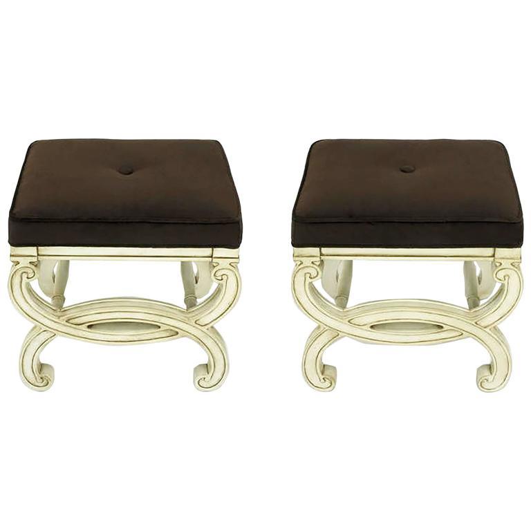 Pair of Regency Style Interlocking Curule Benches in Glazed Ivory & Sable Velvet