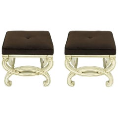 Pair of Regency Style Interlocking Curule Benches in Glazed Ivory & Sable Velvet