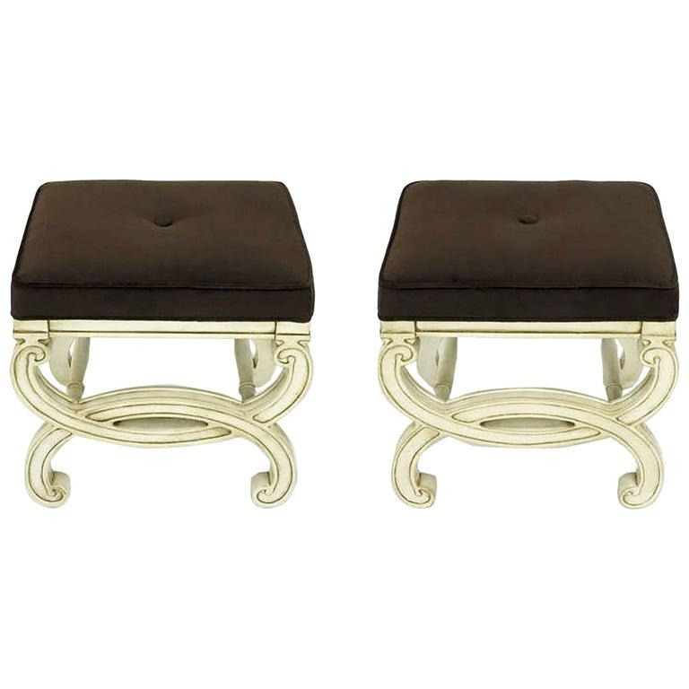 Pair of Regency Style Interlocking Curule Benches in Glazed Ivory & Sable Velvet For Sale