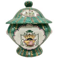 Chinese Export Porcelain 22-Karat Decorated Armorial Lidded Tureen