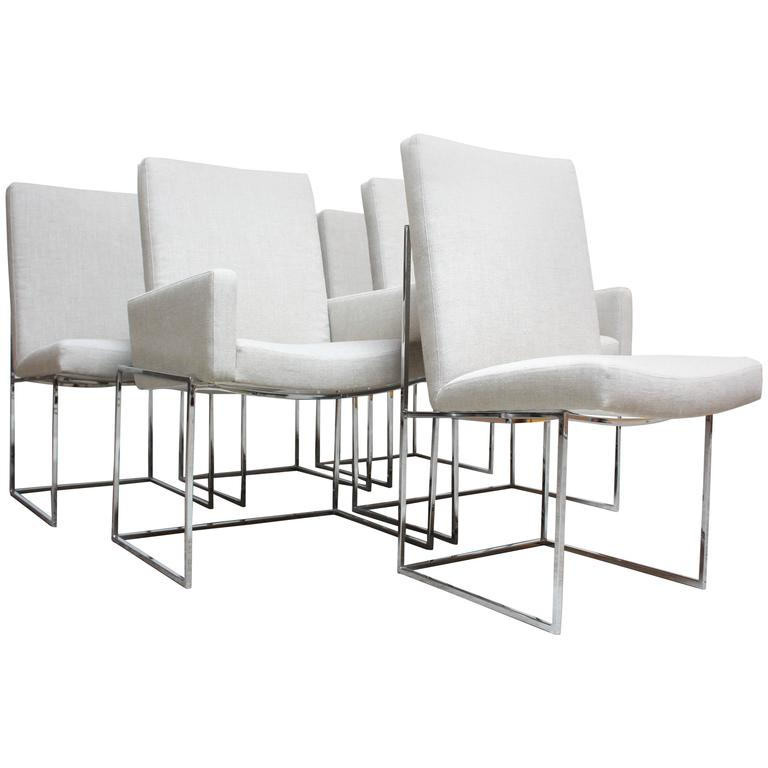 Set of Six Milo Baughman 'Thin Line' Chrome Dining Chairs For Sale