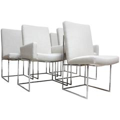 Set of Six Milo Baughman 'Thin Line' Chrome Dining Chairs