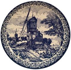"Vintage Large Delfts Blauw Hanging Platter by, Chemkefa-""De Zomer"""