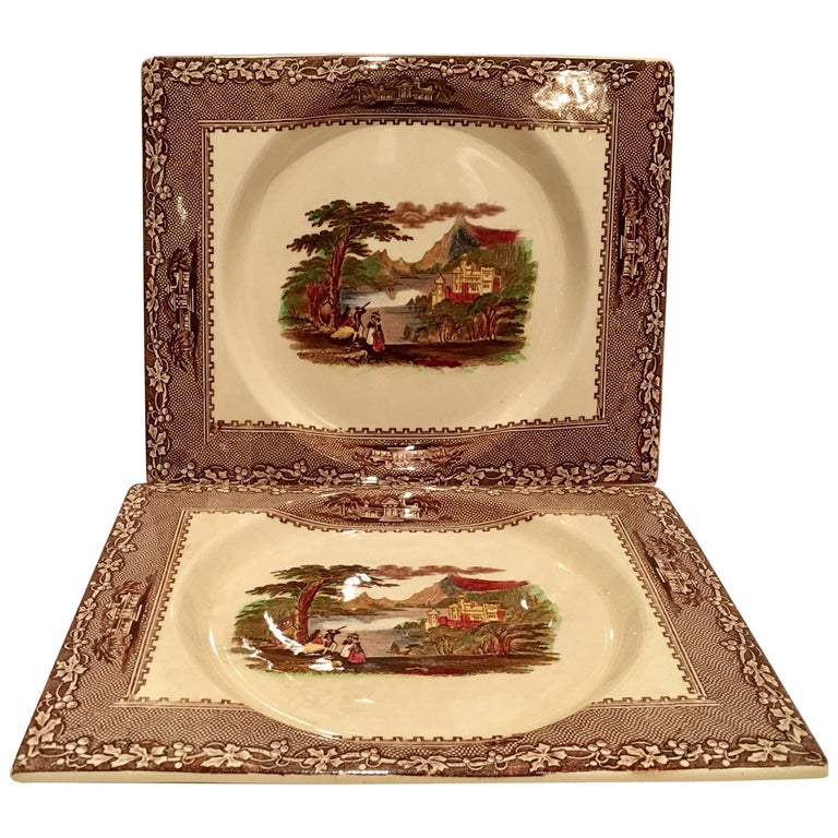 Mid-20th Century Royal Staffordshire Pair Of Transferware Square Plates For Sale