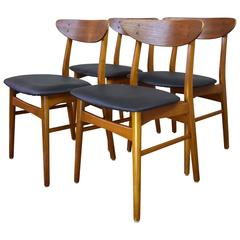 Danish Teak and Beech Dining Chairs, 1960s