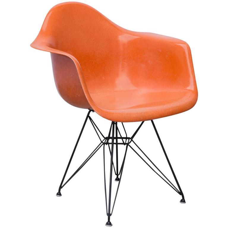 Eames Molded Fiberglass Armchair In Orange At 1stdibs
