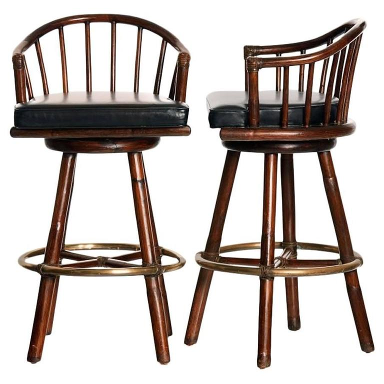 Pair Of Mcguire Swivel Bar Stools At 1stdibs