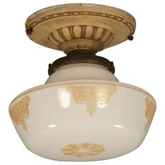 1930s Ceiling Mount with Attractive Painted Glass Shade