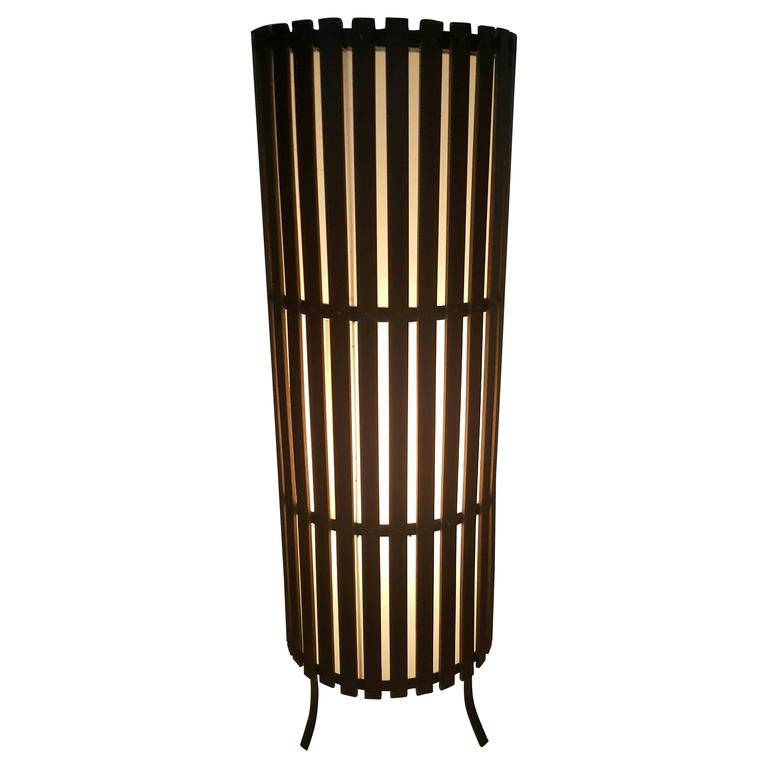 Contemporary  Modernist Walnut Slat Wood Cylinder Floor Lamp For Sale
