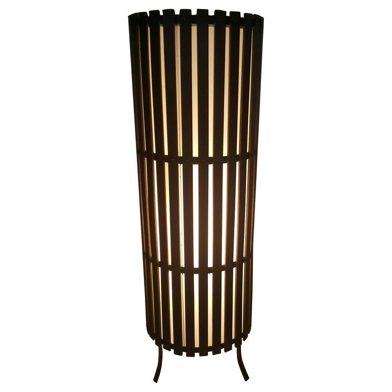 California Modernist Walnut Slat Wood Cylinder Floor Lamp 1