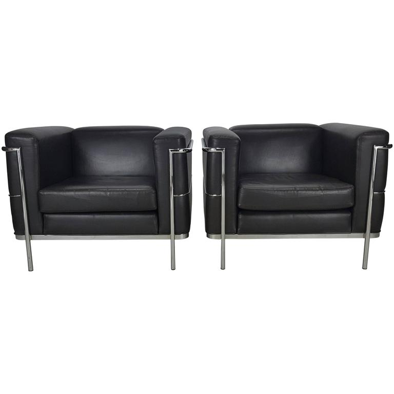 Stunning Pair of LC2 Armchairs by Le Corbusier, Chocolate Brown ...