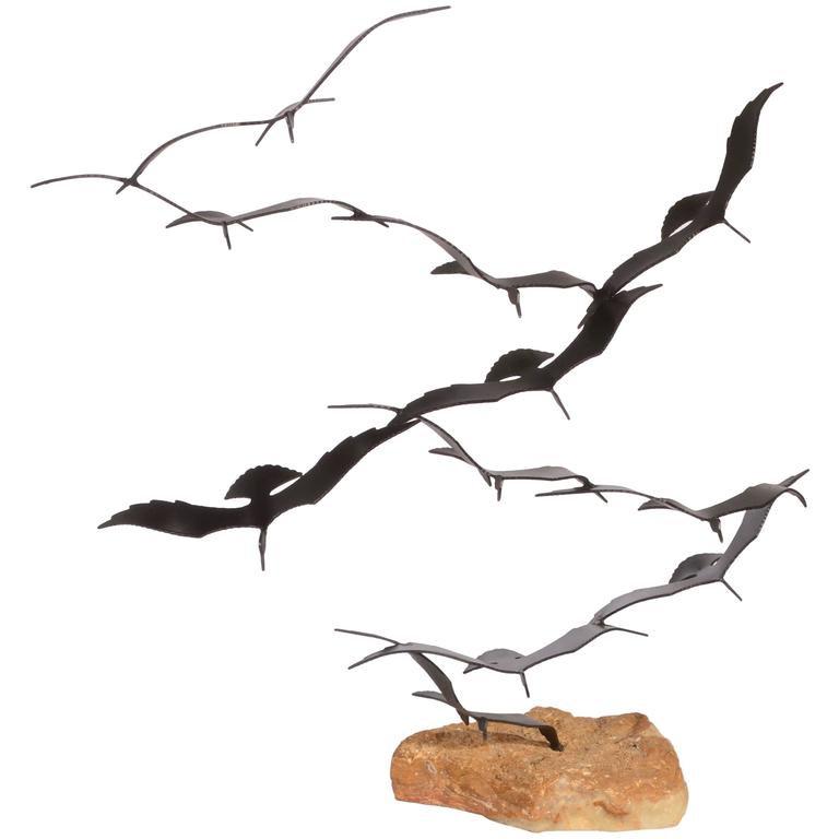 Flock Of Seagulls Metal Sculpture By Bijan For Sale