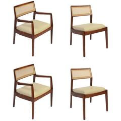 "Set of Four Jens Risom ""Playboy"" Chairs in Walnut, Cane and Leather"