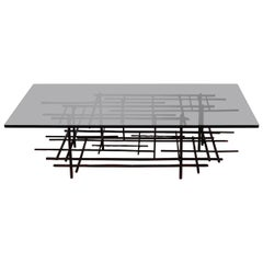 Signed Steel Sculpture Coffee Table with Smoked Glass