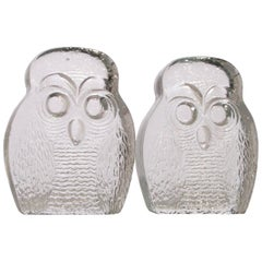 Owl Bookends by Blenko
