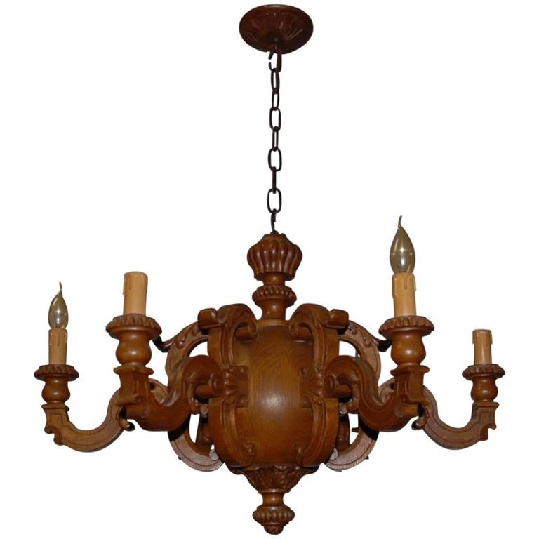 Early 20th Century Carved Oak Six-Arm Pendant / Chandelier Great Shape and Color