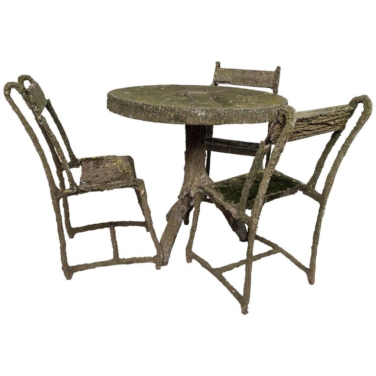 Set of Very Early Faux Bois Furniture, Three Chairs and a Table For Sale