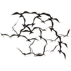 Flock of Seagulls Black Brass Sculpture by Bijan