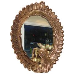 Rare French Large Oval Gilded Mirror